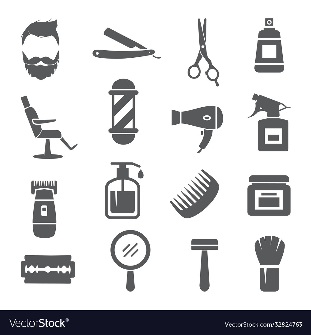 Barber shop icons on white background