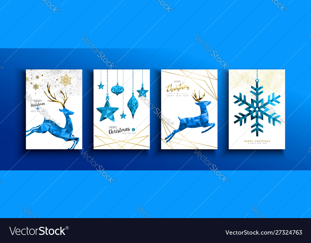 Christmas and new year blue low poly deer card set