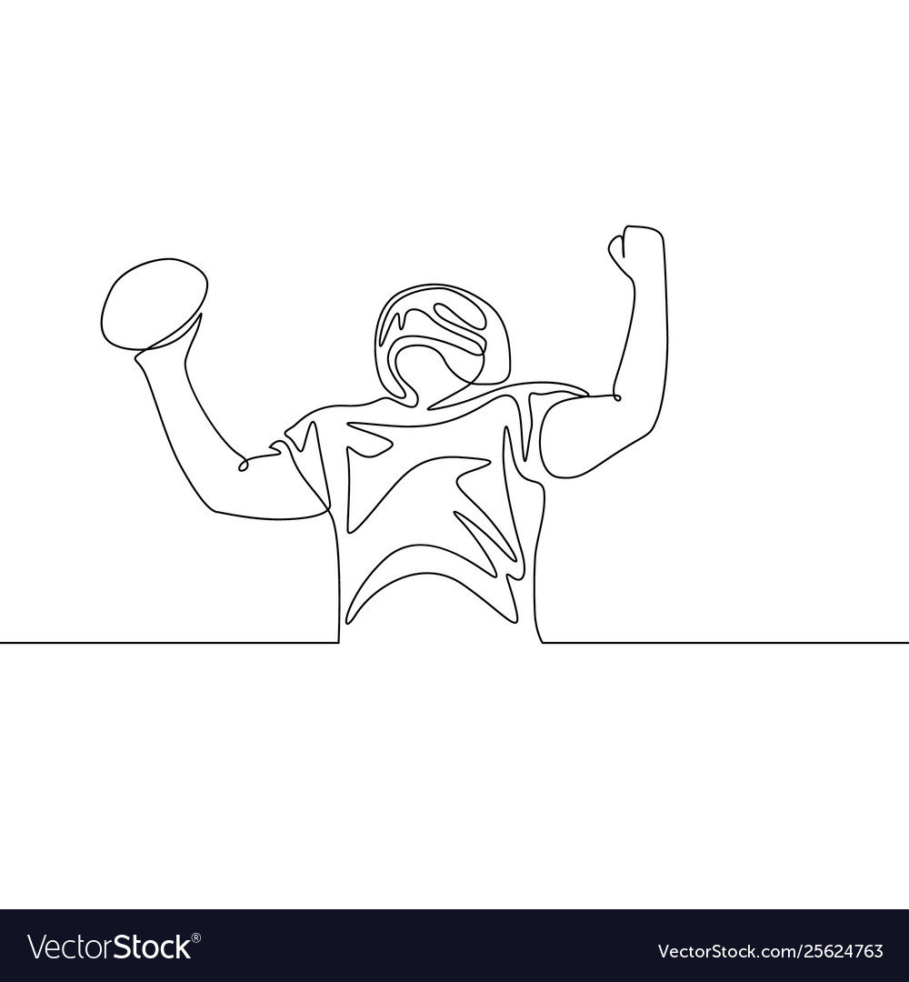 Continuous one line american football player
