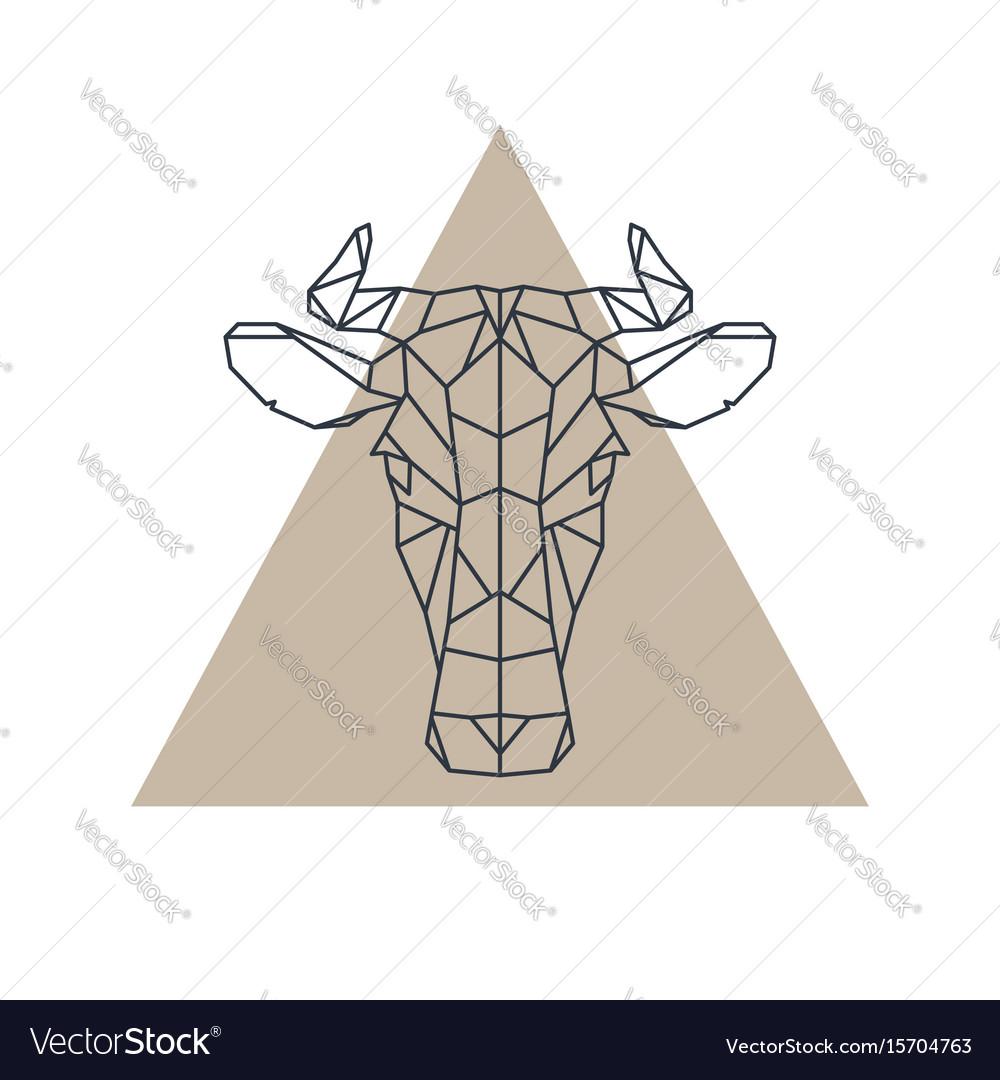 Geometric cow head animal icon