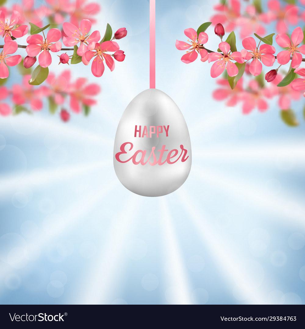 Happy easter with cherry branches and easter egg