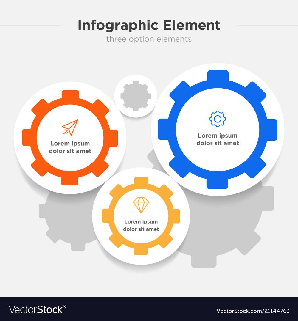 Infographic element three gear combination symbol