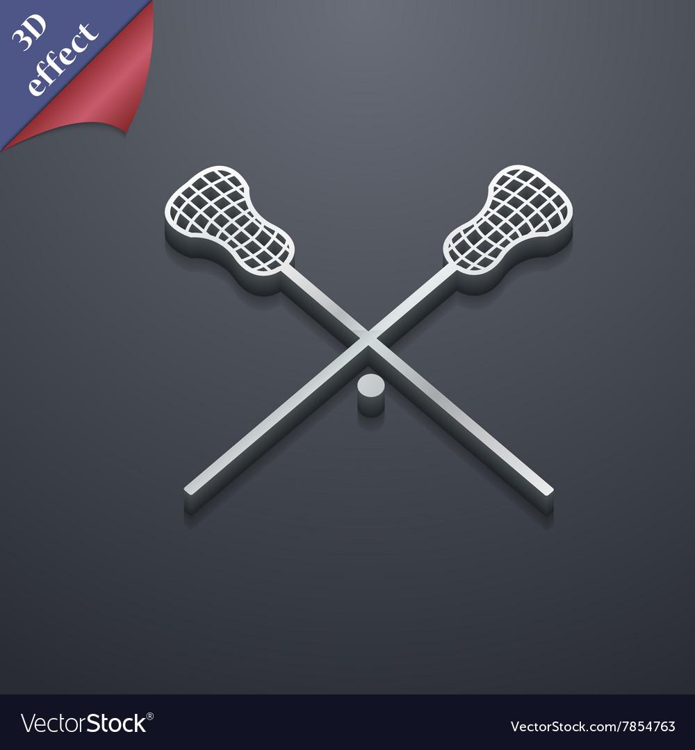 Lacrosse Sticks crossed icon symbol 3D style Vector Image