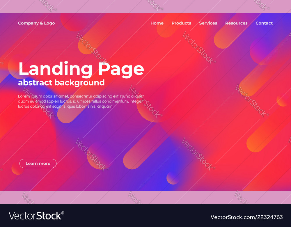 Landing page template abstract background