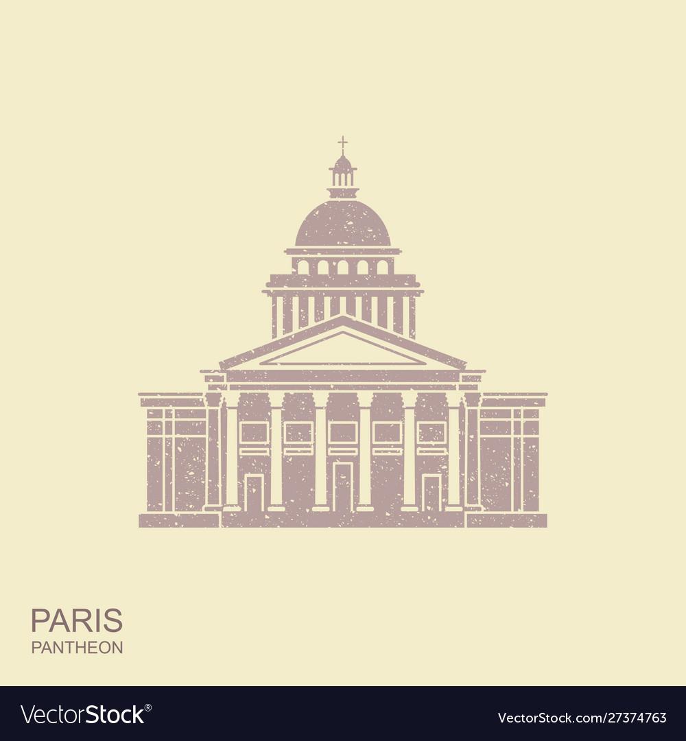 Pantheon in paris france landmark icon in retro