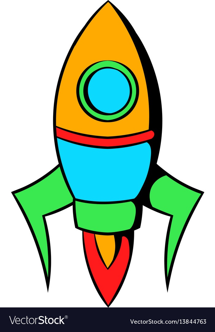 Rocket icon cartoon