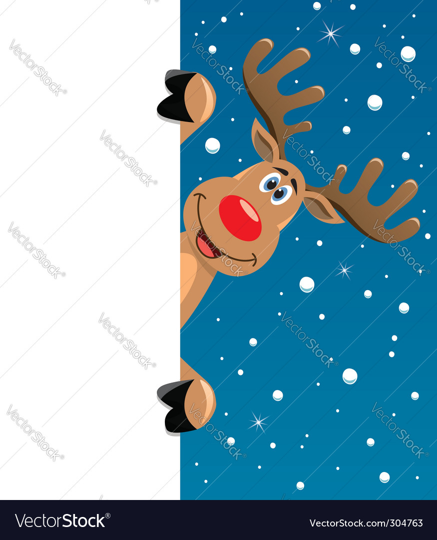 Rudolph deer with blank paper