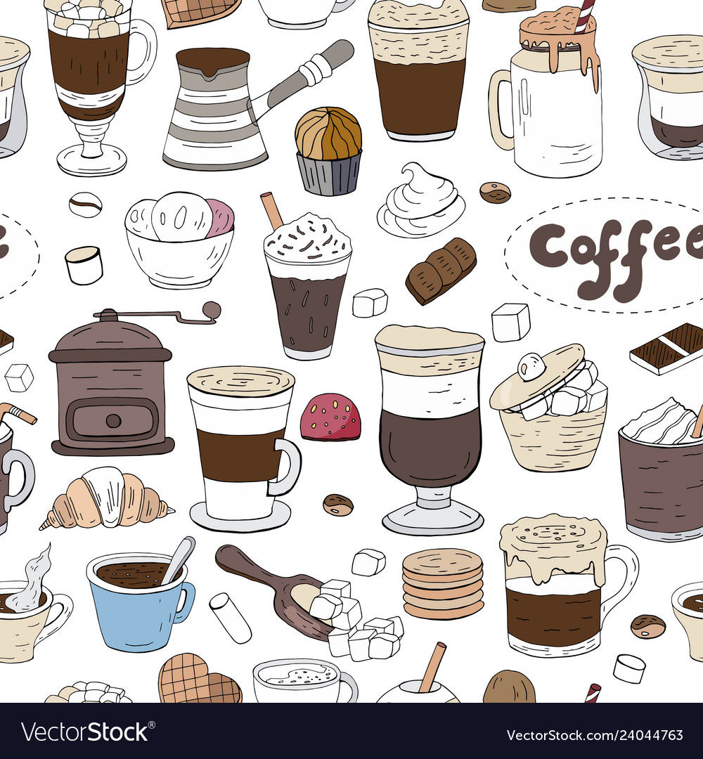 Seamless pattern with hand drawn elements of