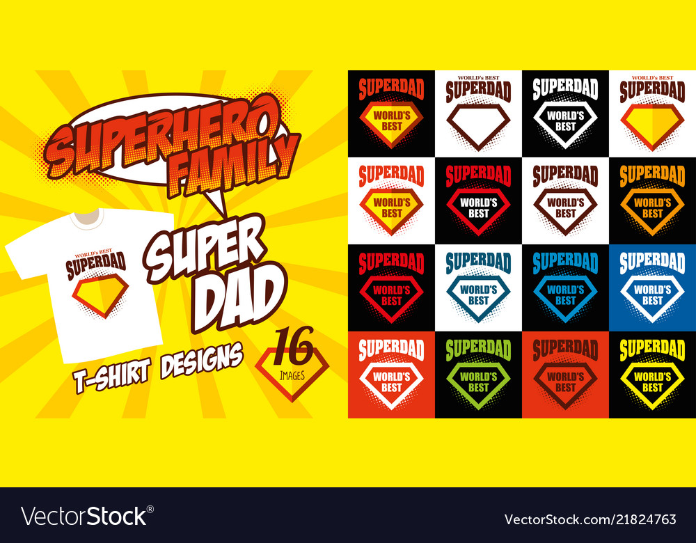 Set super dad logo superhero t-shirt design