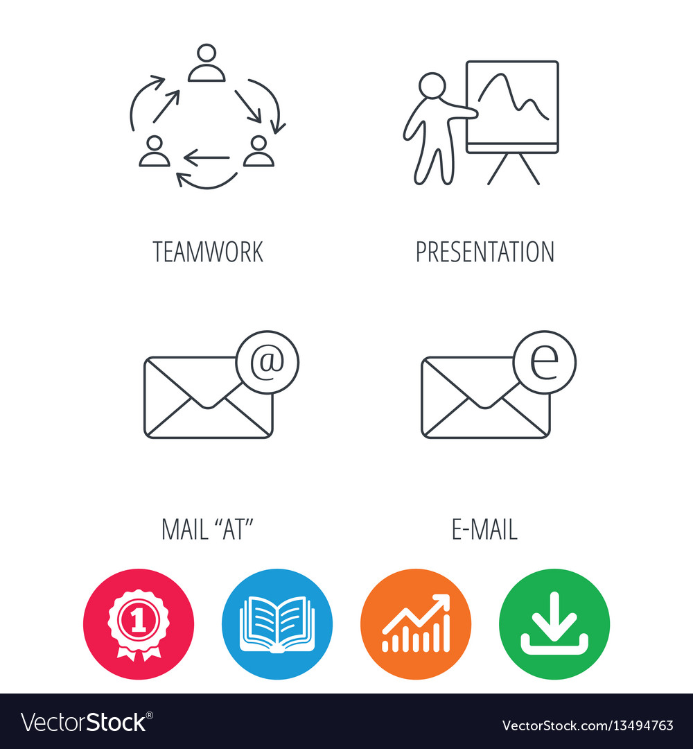 teamwork presentation and e mail icons royalty free vector