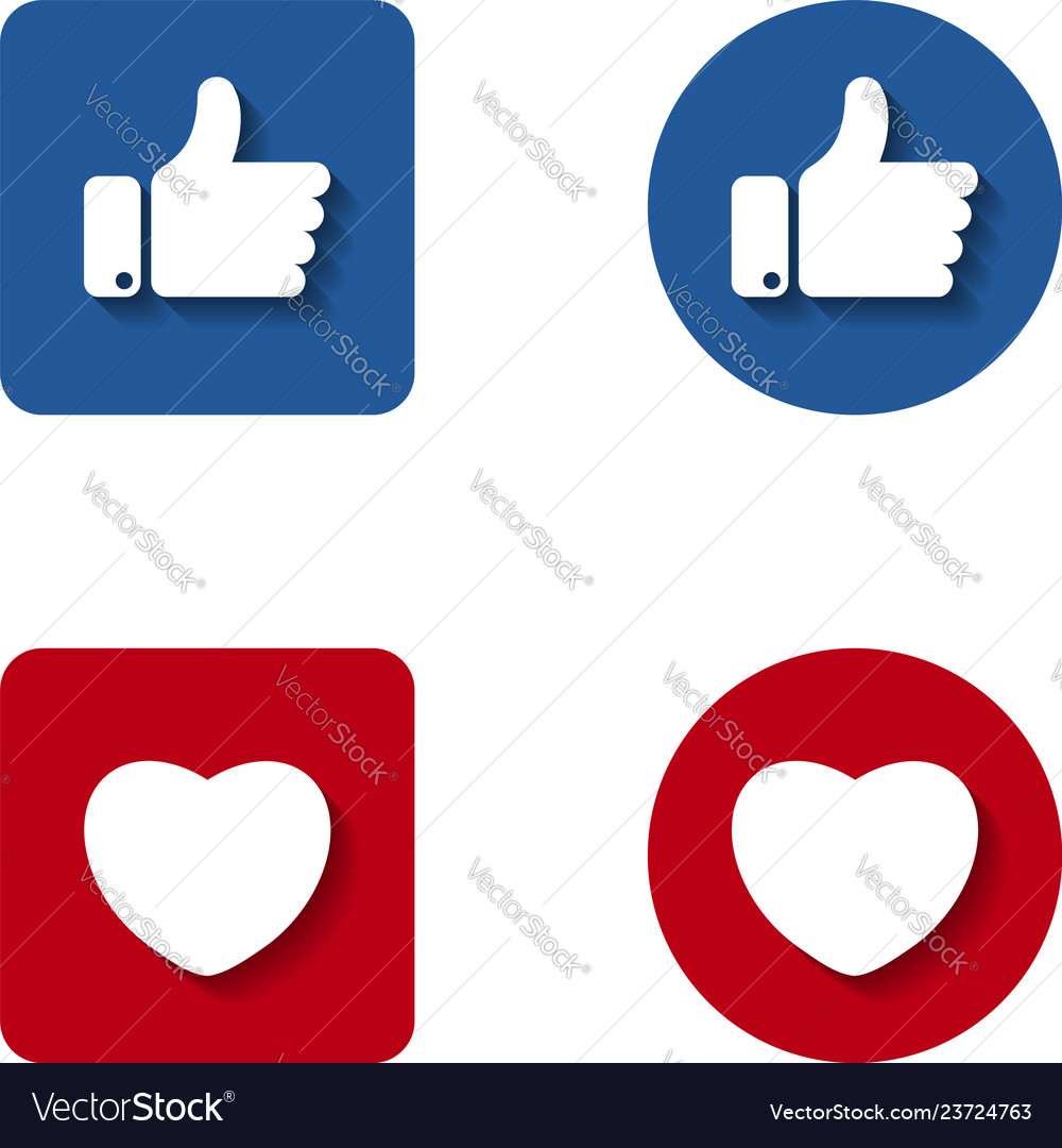 Thumbs up and heart button icon like and heart