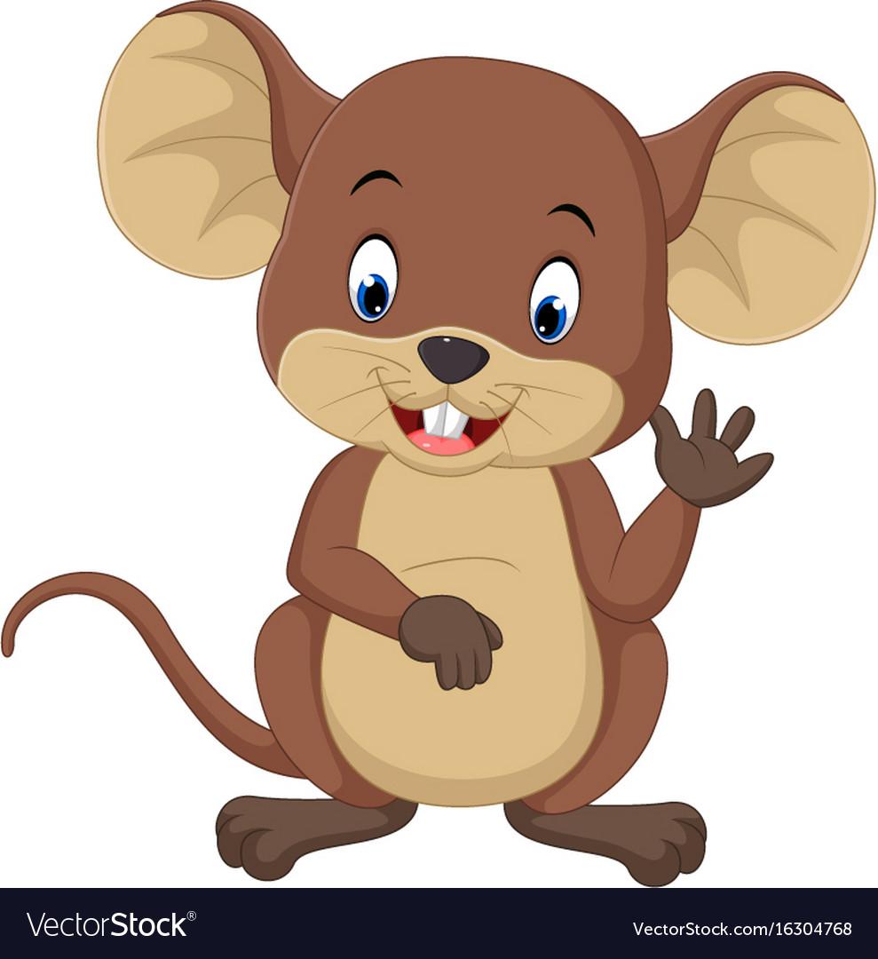 Cute mouse cartoon waving Royalty Free Vector Image