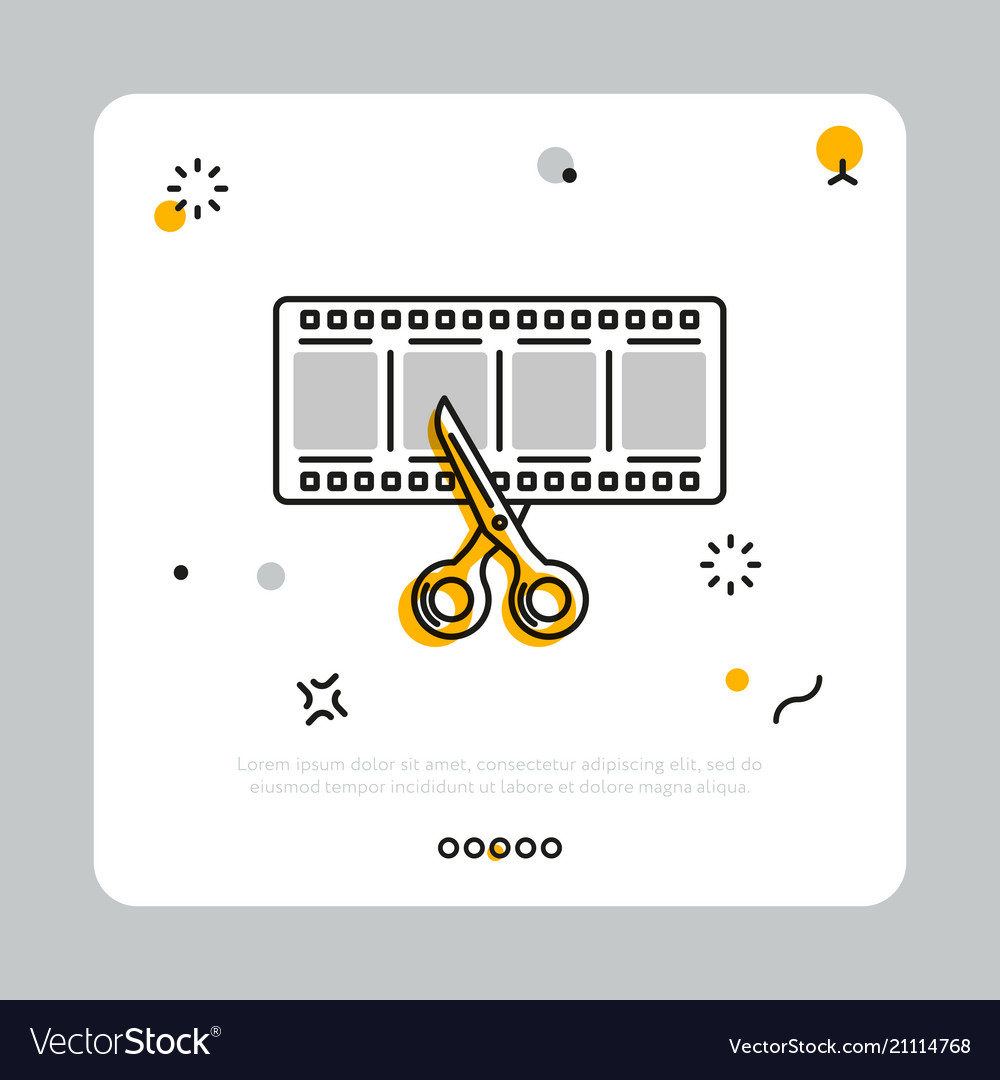 Filmstrip with scissors in simple icon