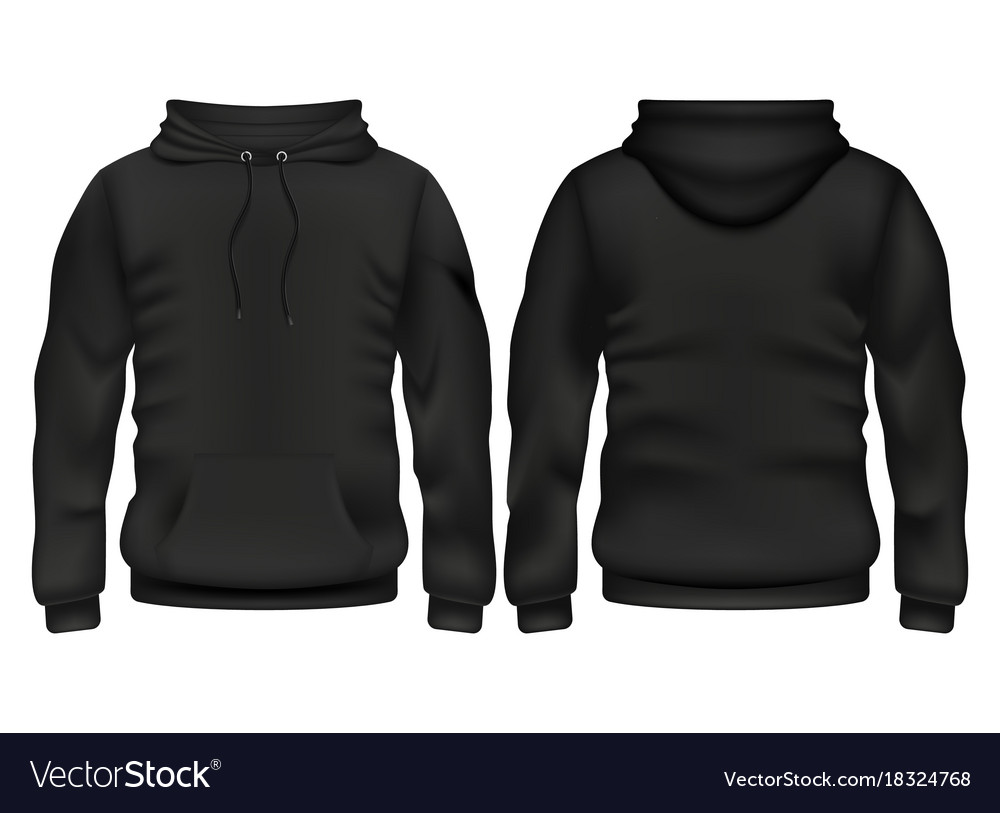 Front and back black hoodie template Royalty Free Vector