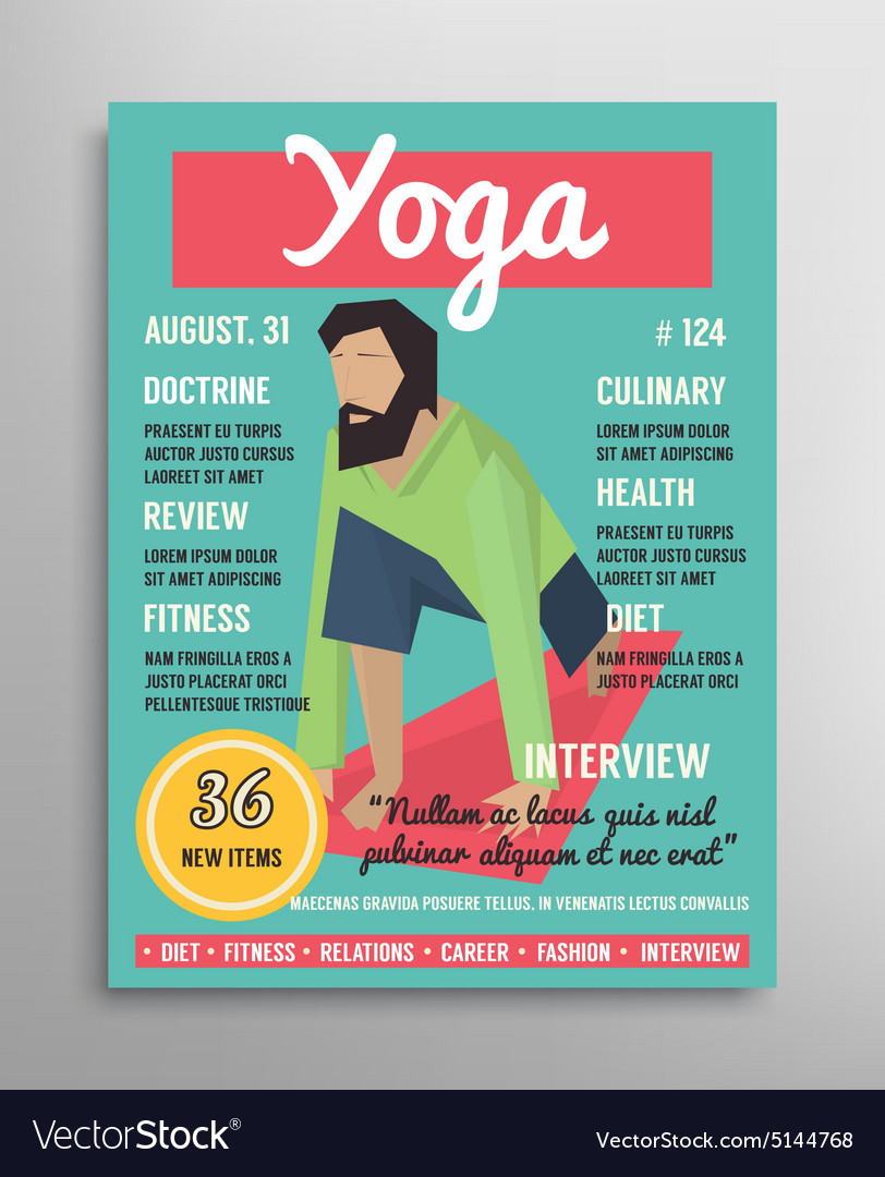 Magazine Cover Template Yoga Blogging Layer Vector Image