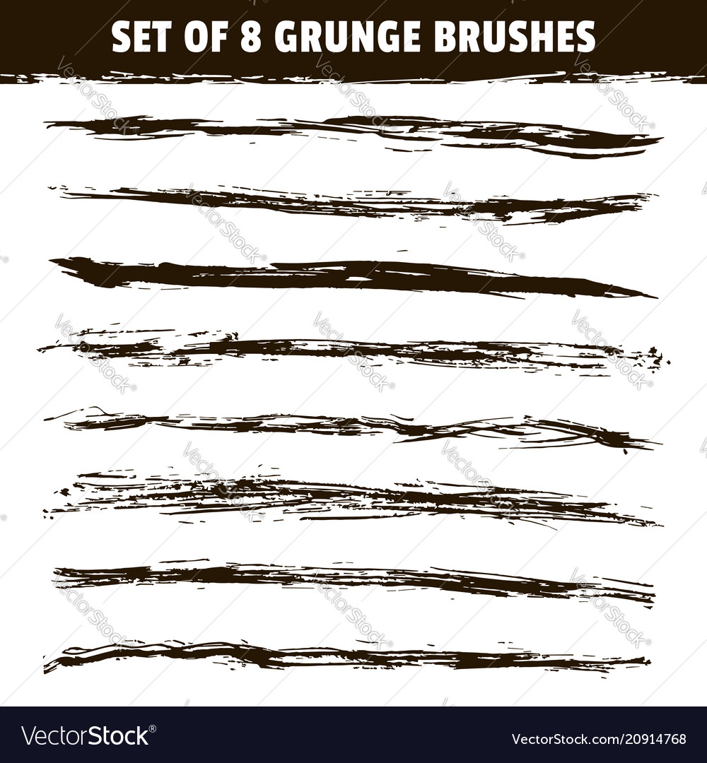 Set eight hand drawn brush strokes