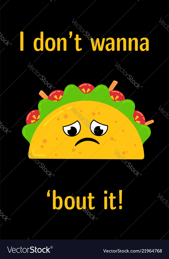 Tasty mexican food upset taco character postcard