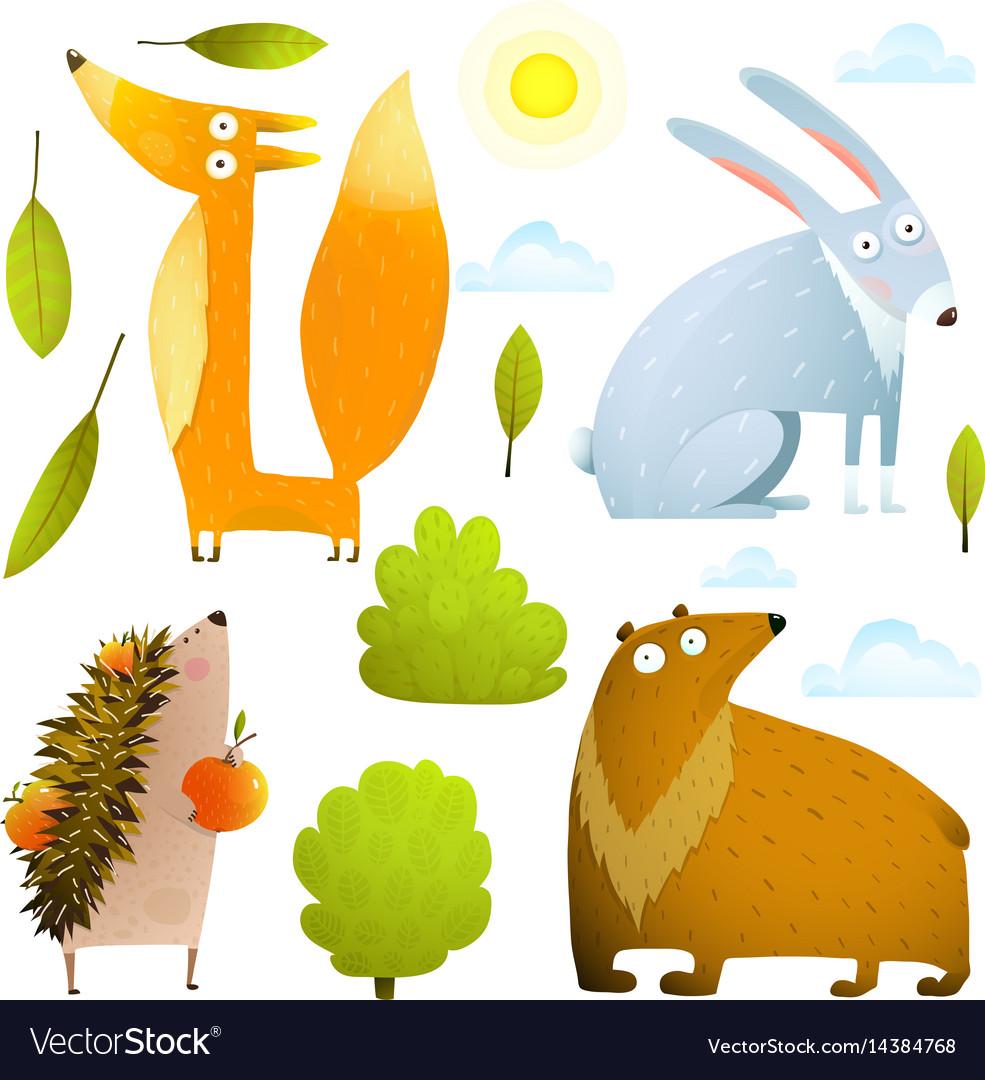 Wild baby animals clip art collection fox rabbit