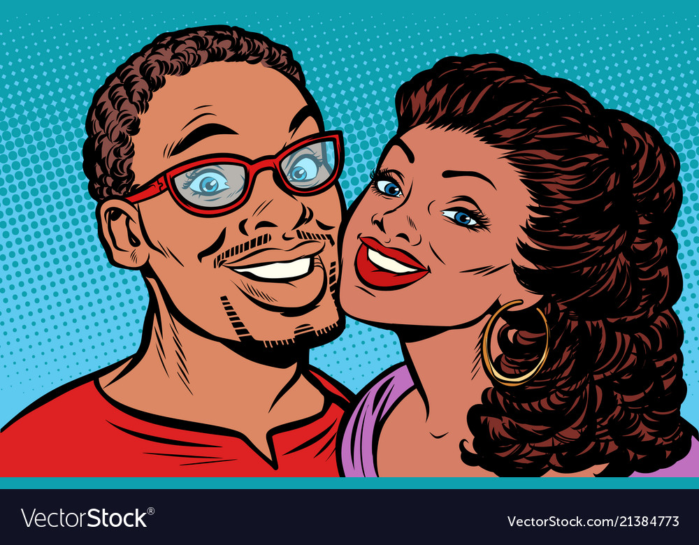African couple kissing smiling