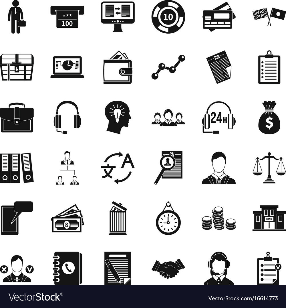 All day business icons set simple style