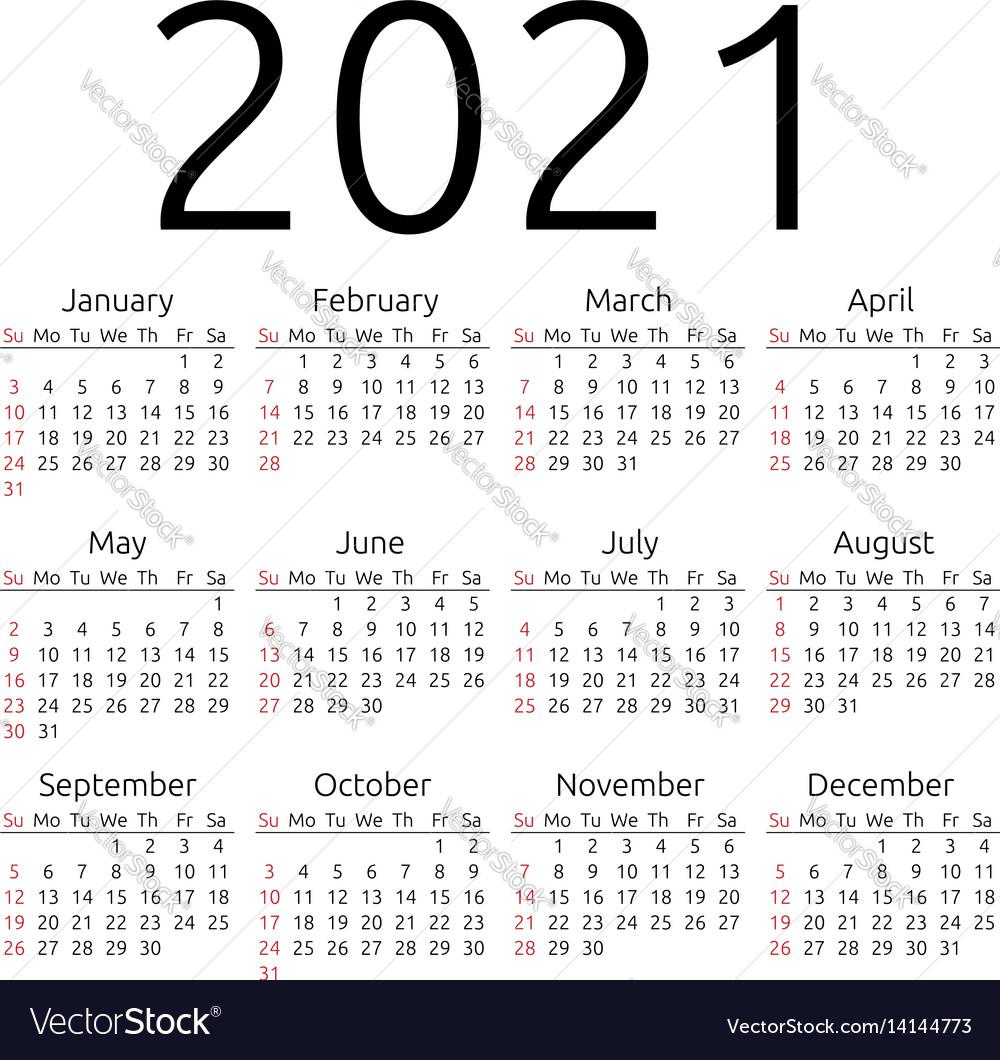 Calendar 2021 sunday Royalty Free Vector Image