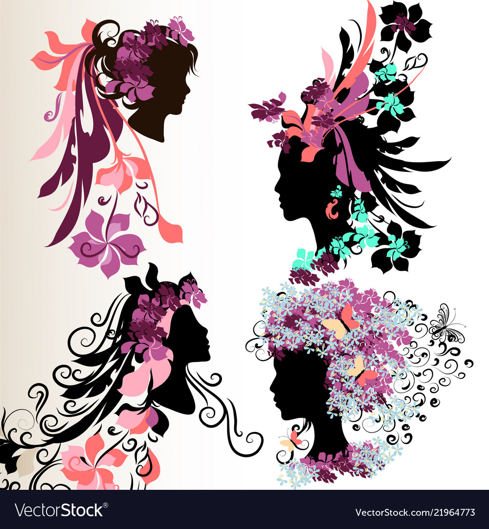 Fashion abstract female face silhouettes