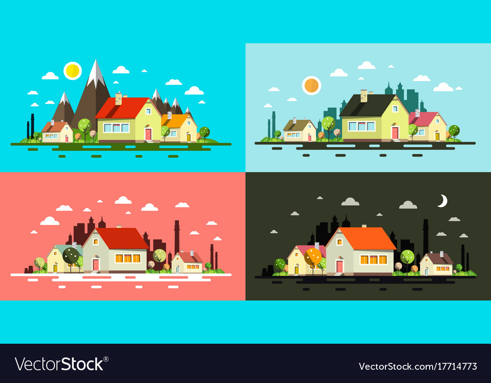 Flat design buildings night and day abstract
