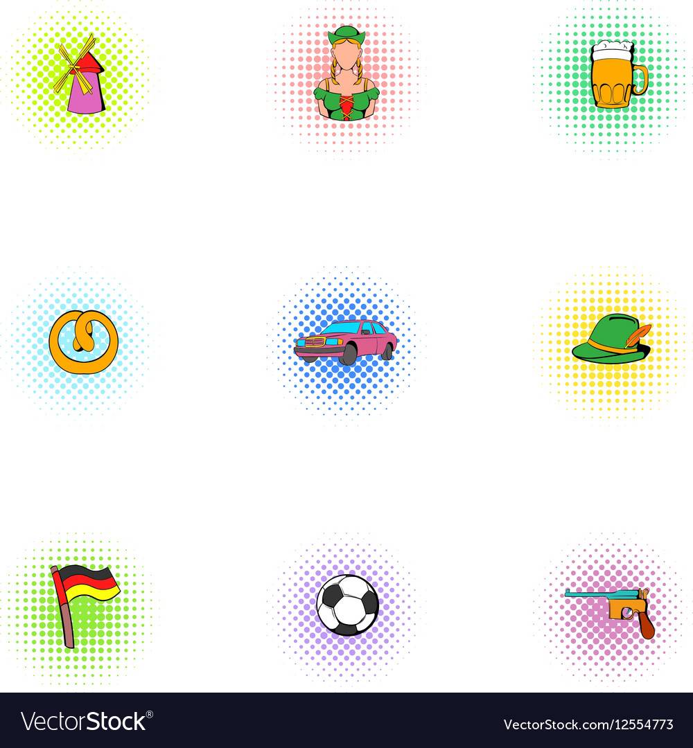 Germany icons set pop-art style vector image