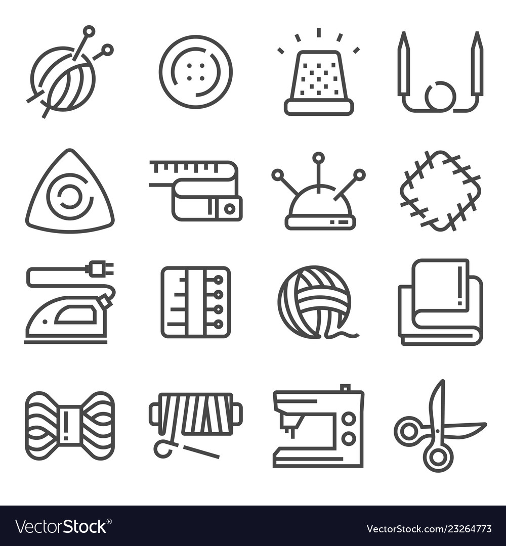 Line sewing and needlework tool icon set