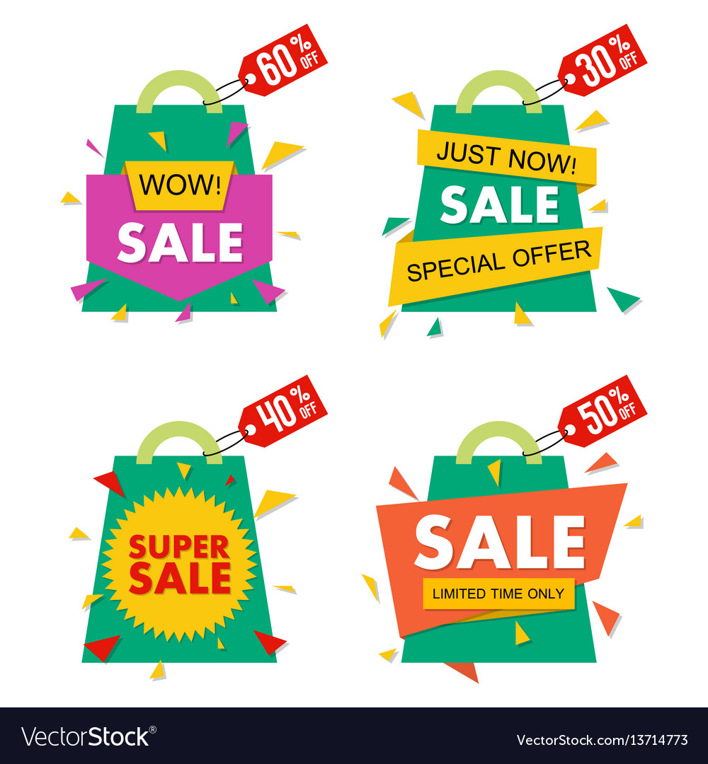 Sale banner set in material design style