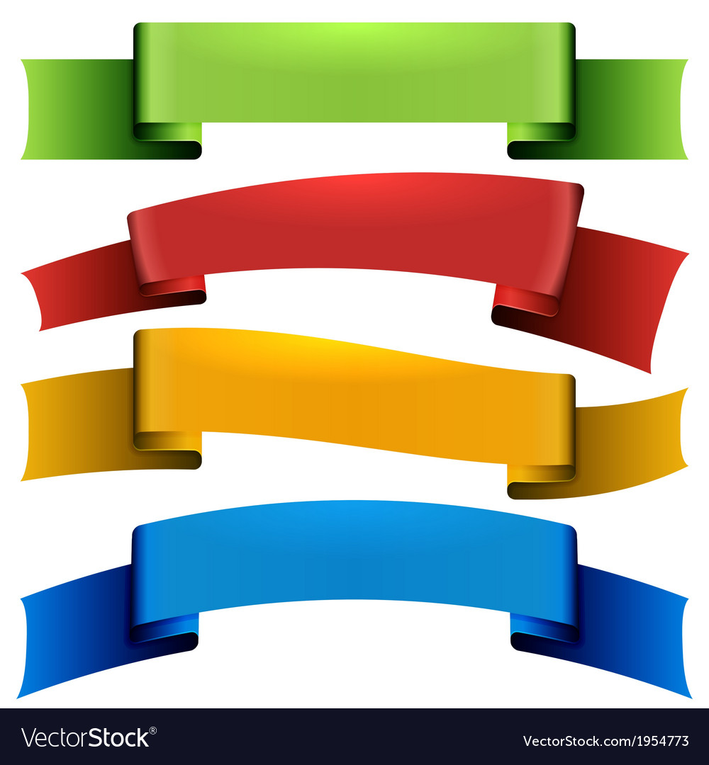 Set isolate silk ribbons vector image