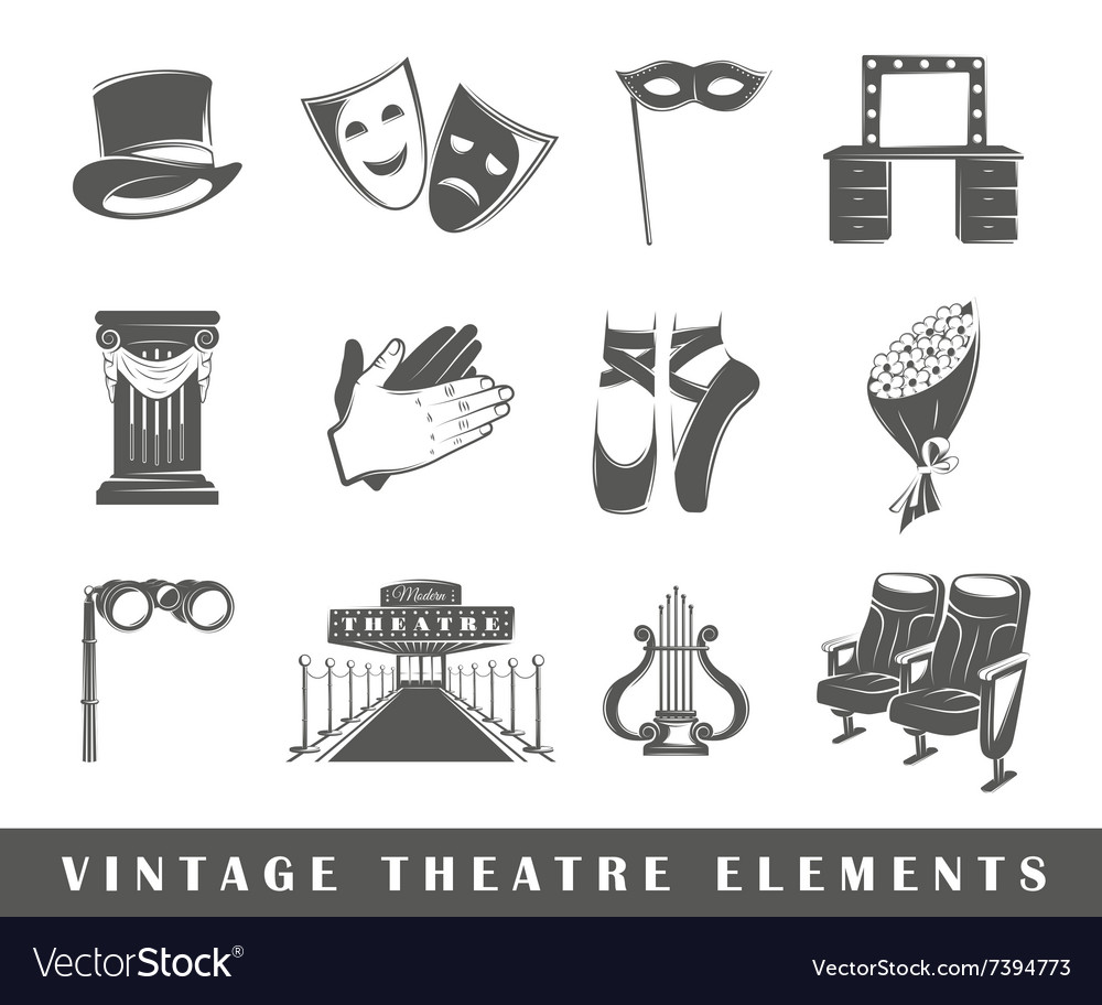 Set of elements of the theater
