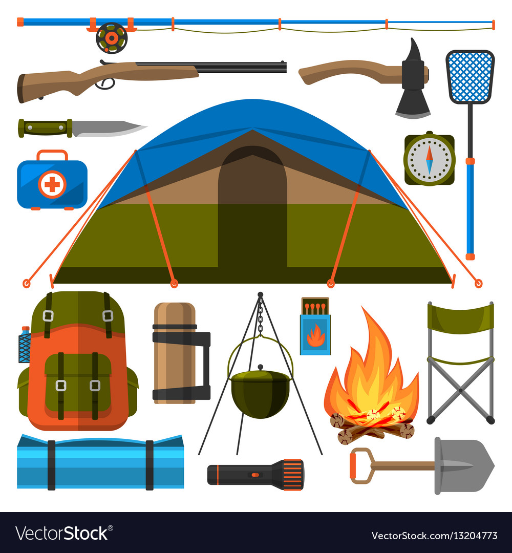 Summer outdoor travel camping icons tourism hiking