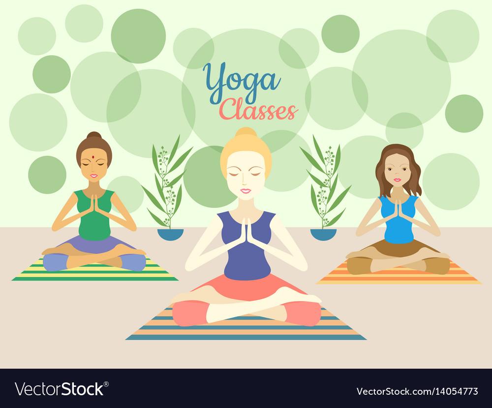 Three beautiful women practicing yoga exercises in