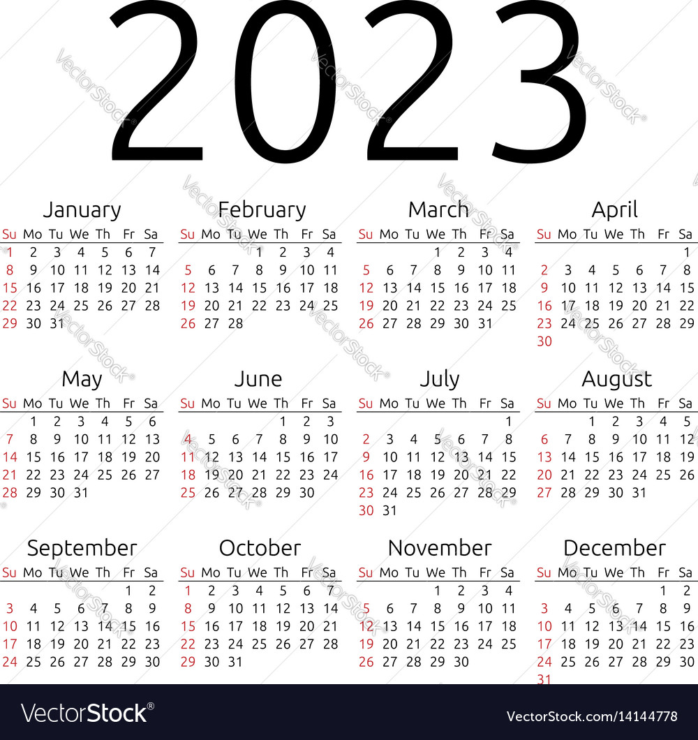 Calendar 2023 sunday vector image