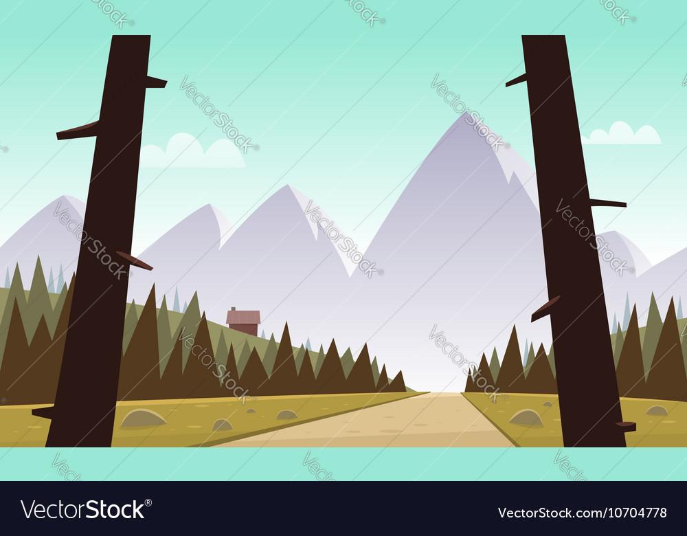 Cartoon Mountain Landscape