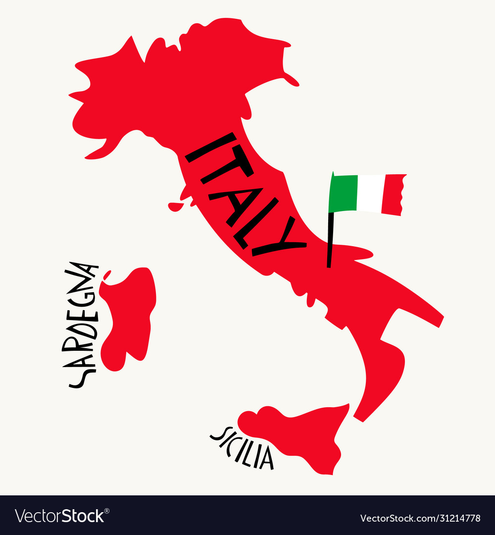 Hand drawn stylized map italy travel of