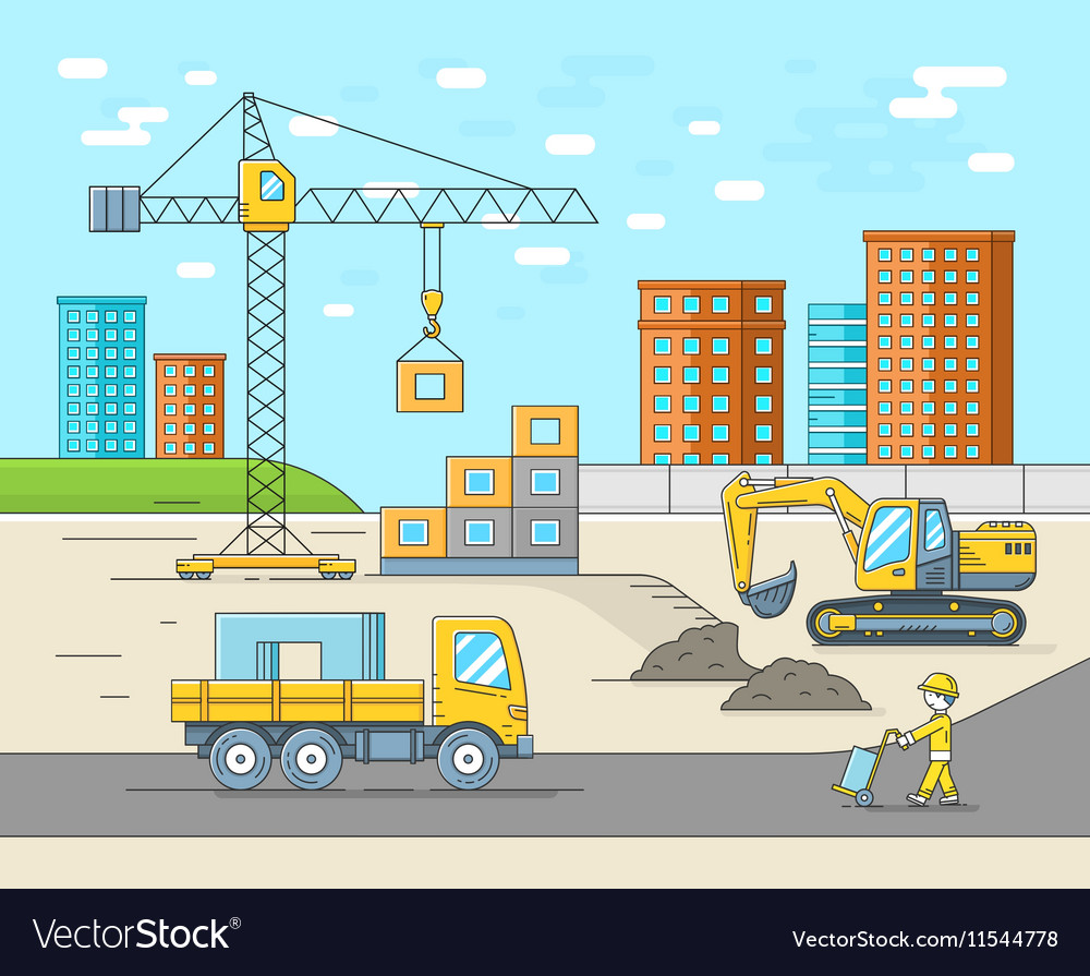 House building in thin line flat style vector image