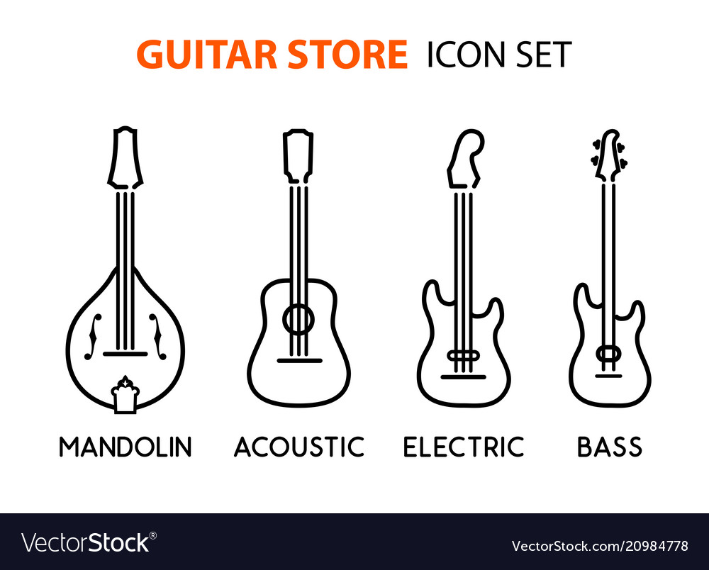 Icon set of acoustic electric guitars and