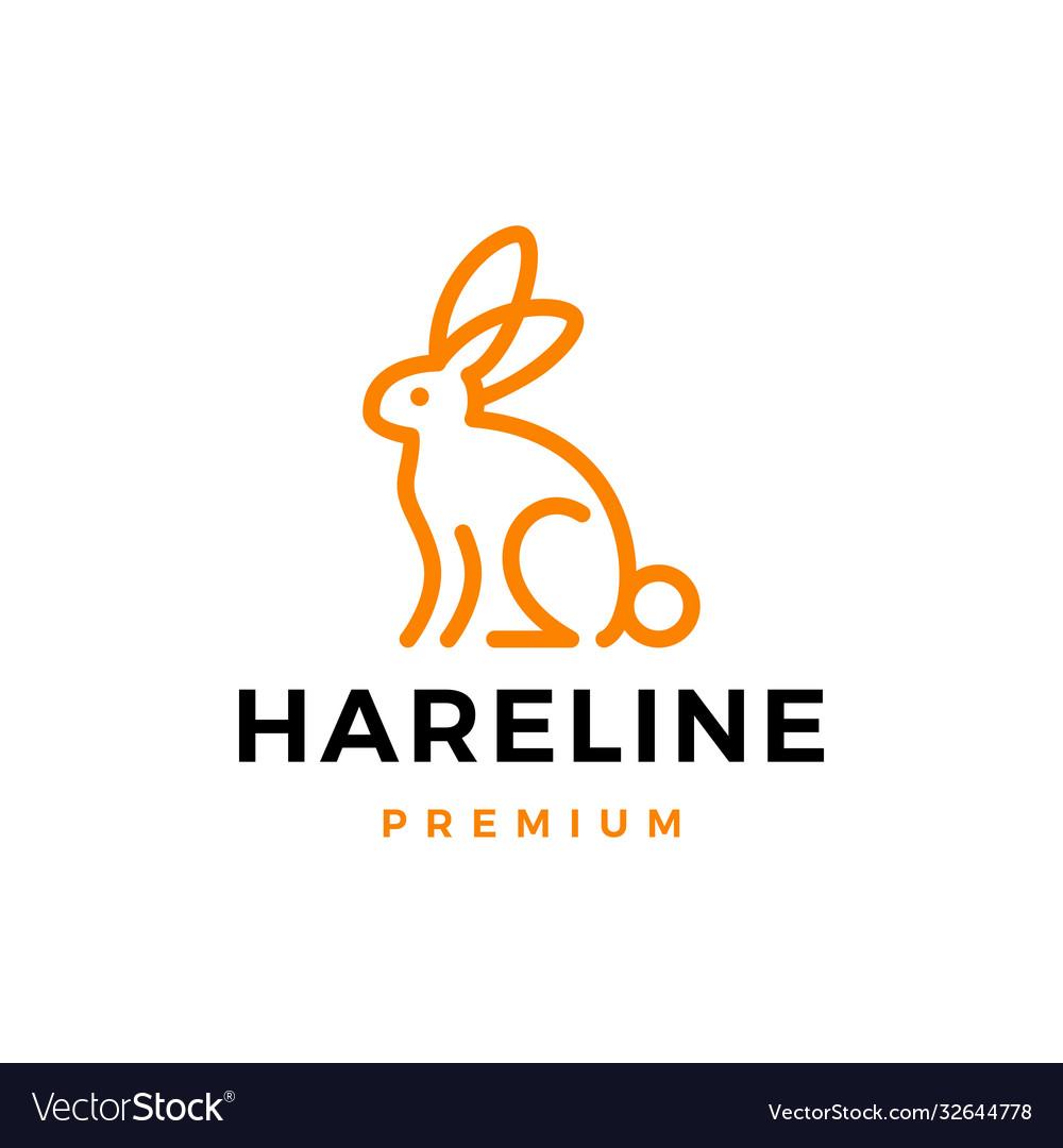 Rabbit hare bunny line outline logo icon