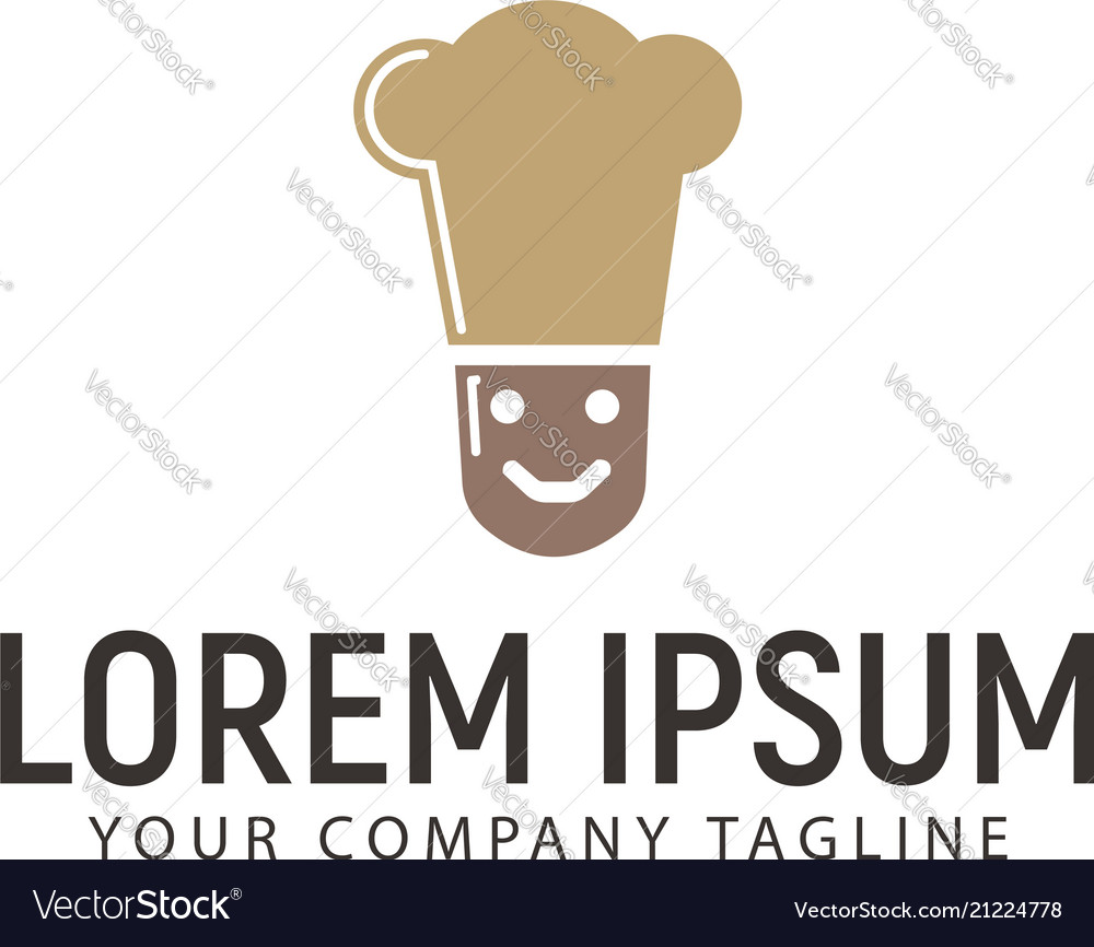 Simple smile chef logo design concept template