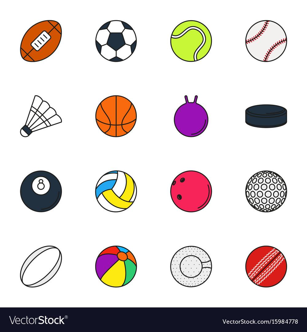 Sports balls icon set on white background