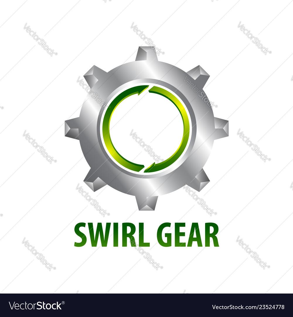 Swirl gear logo concept design three dimensional