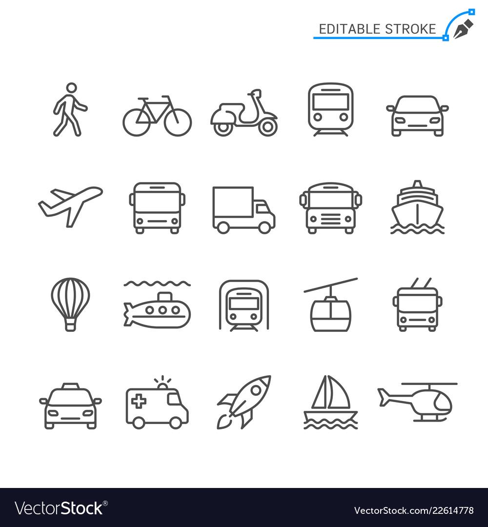 Transportation line icons editable stroke