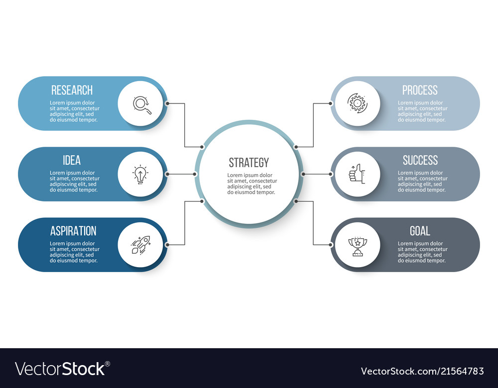 Business infographic organization chart with 6