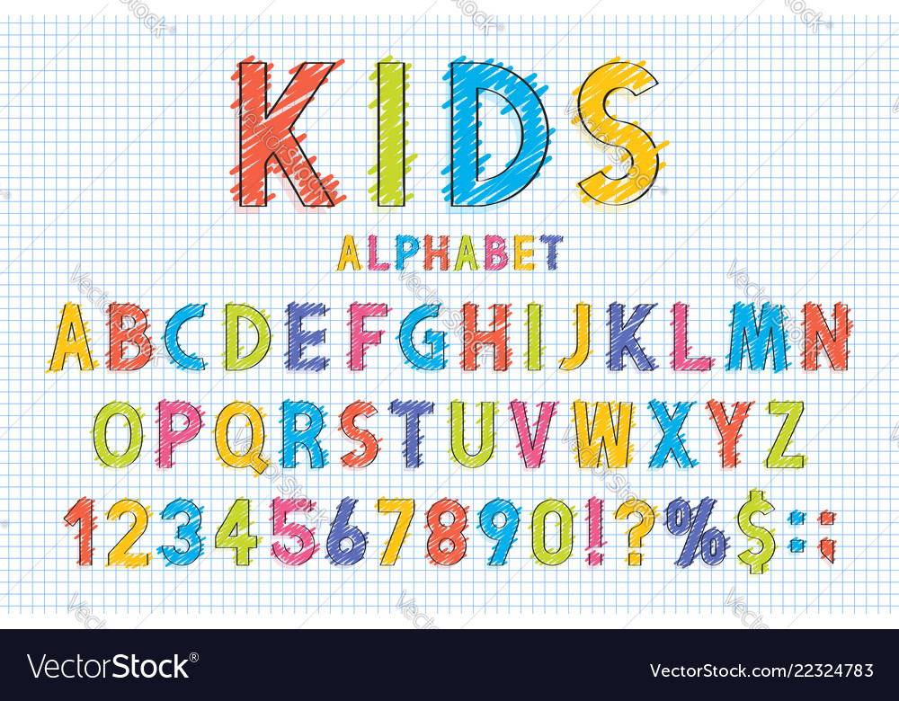 Childish font and alphabet in school style pencil