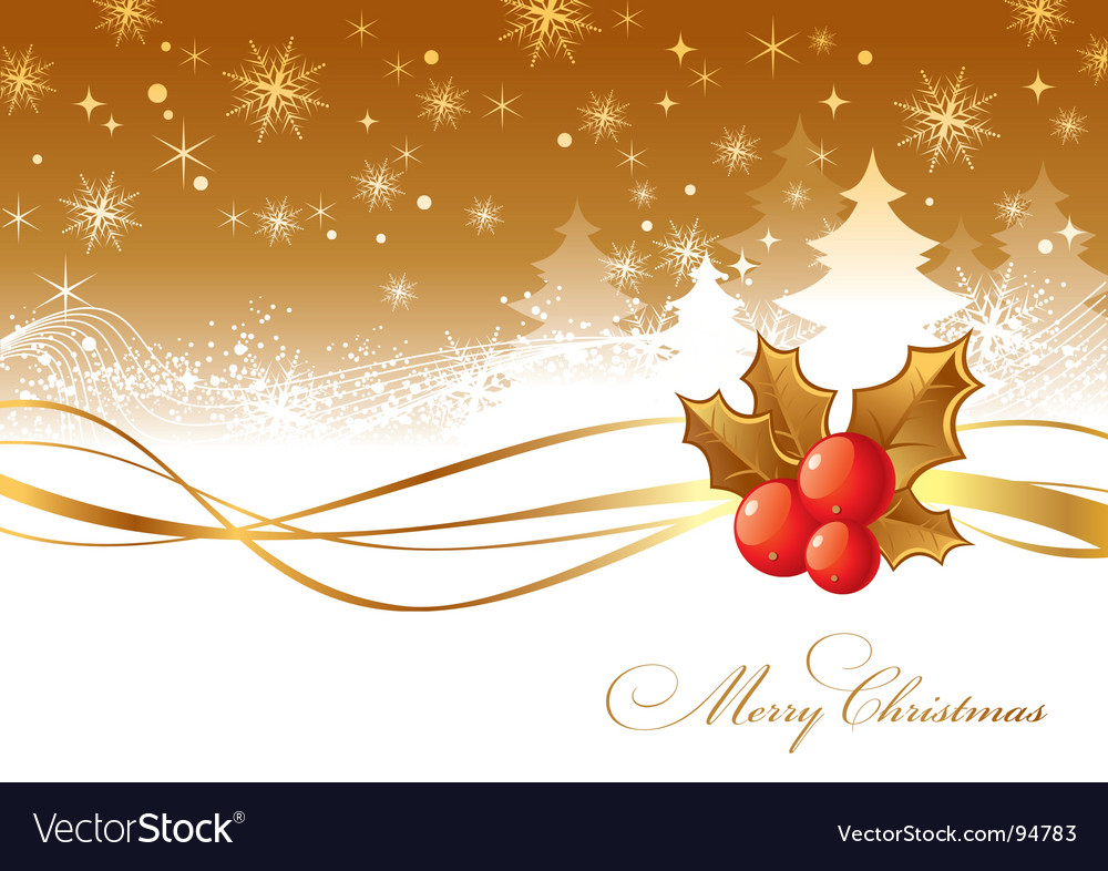 Christmas illustration with holly berries vector image