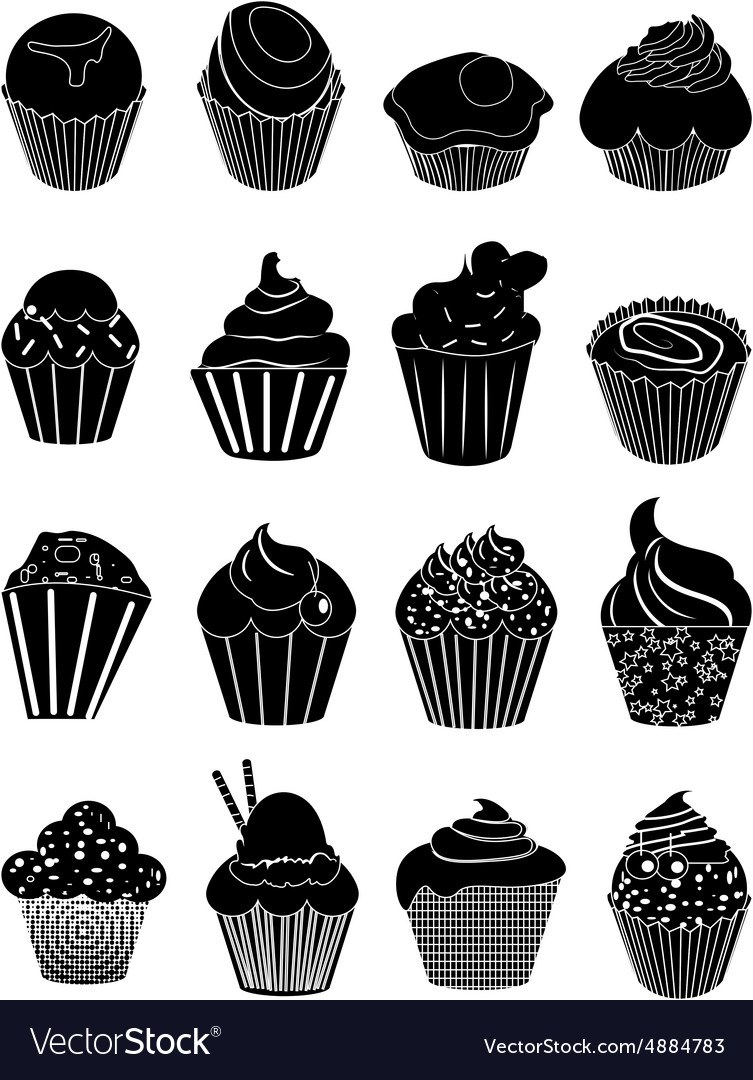 Cup cakes icons set