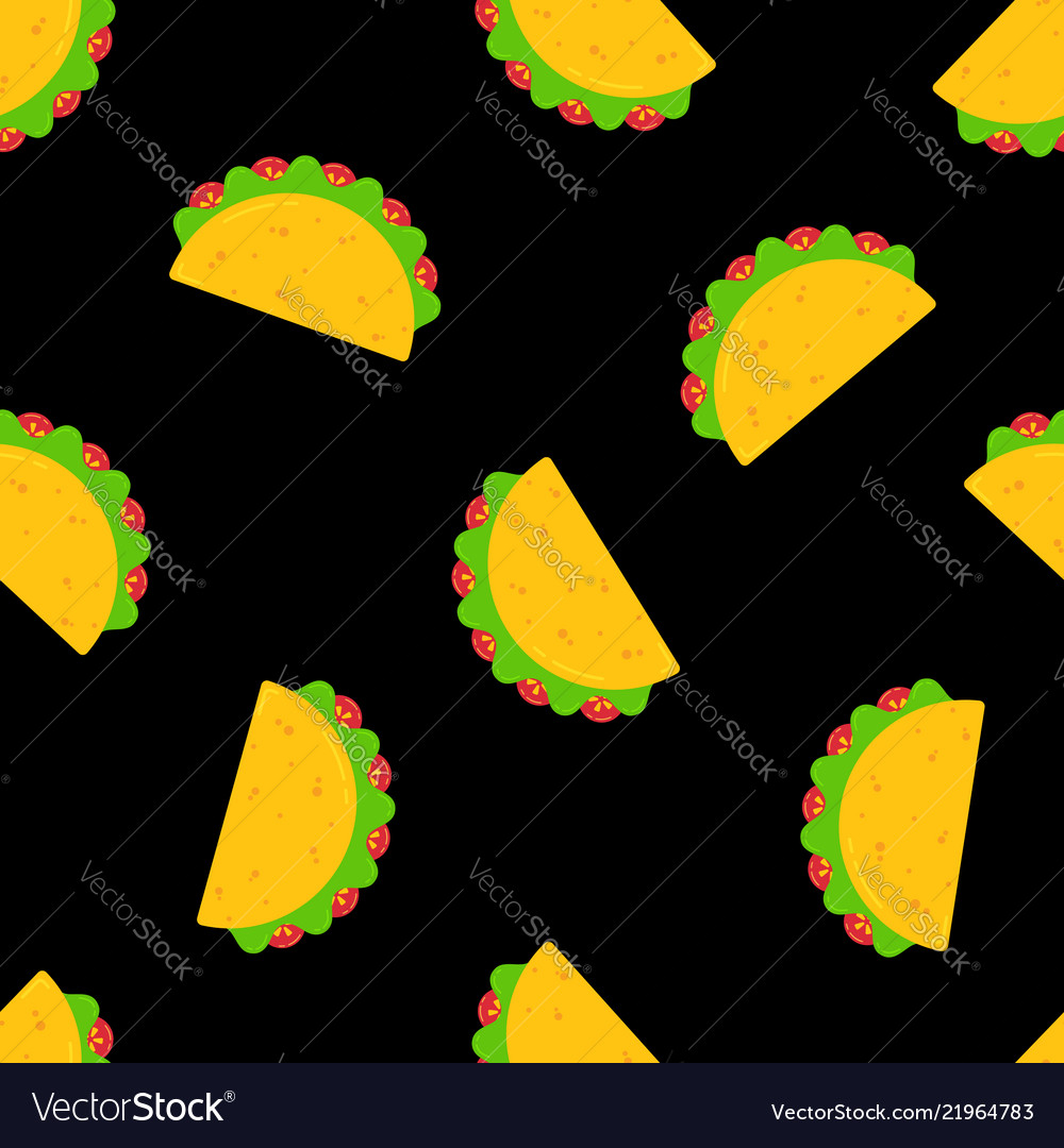 Festive mexican taco food seamless pattern design