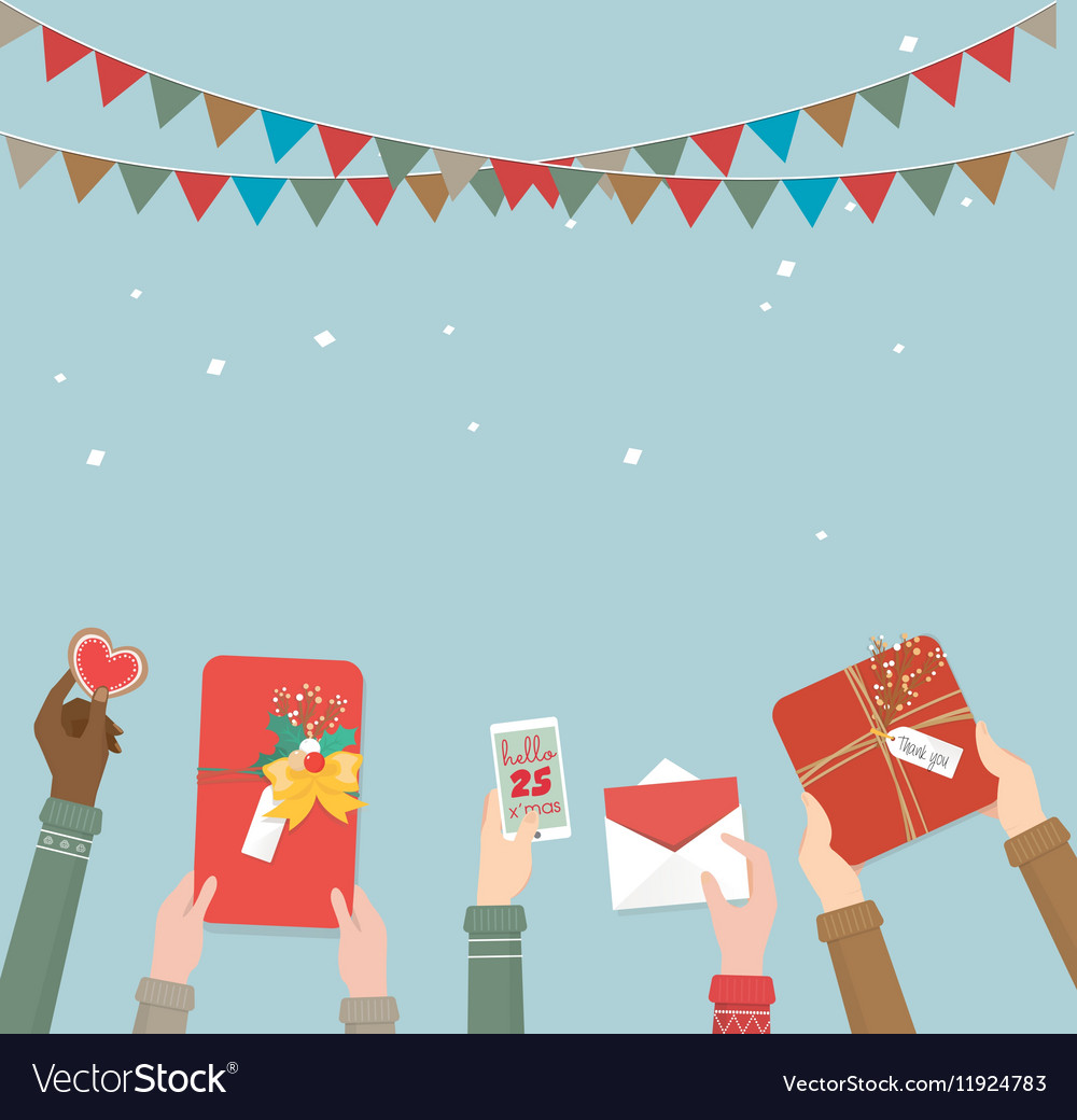 Hands of the people holding Christmas gift Vector Image